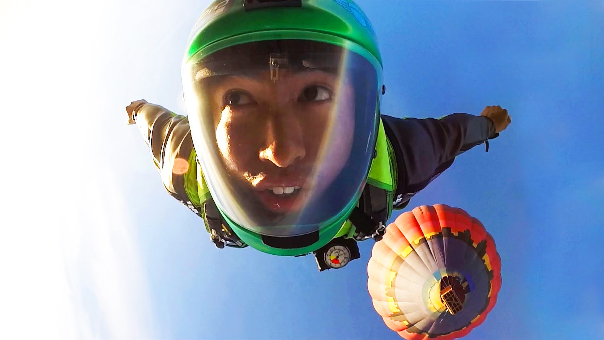 Wingsuit Sky dive with GoPro 4 from Air Balloon