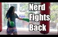 Nerdy girl boxing prank