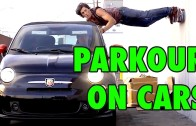 Moving car parkour stunts