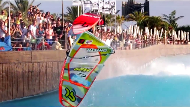 Pro windsurfers wave pool action