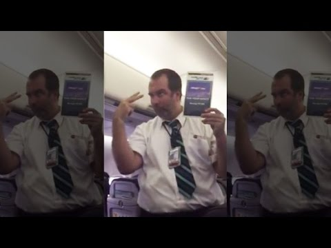Funny flight attendant safety demo