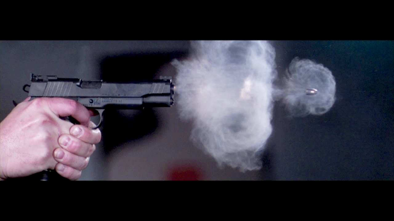 Pistol shot in slow motion