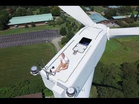 Sunbathing on a wind turbine