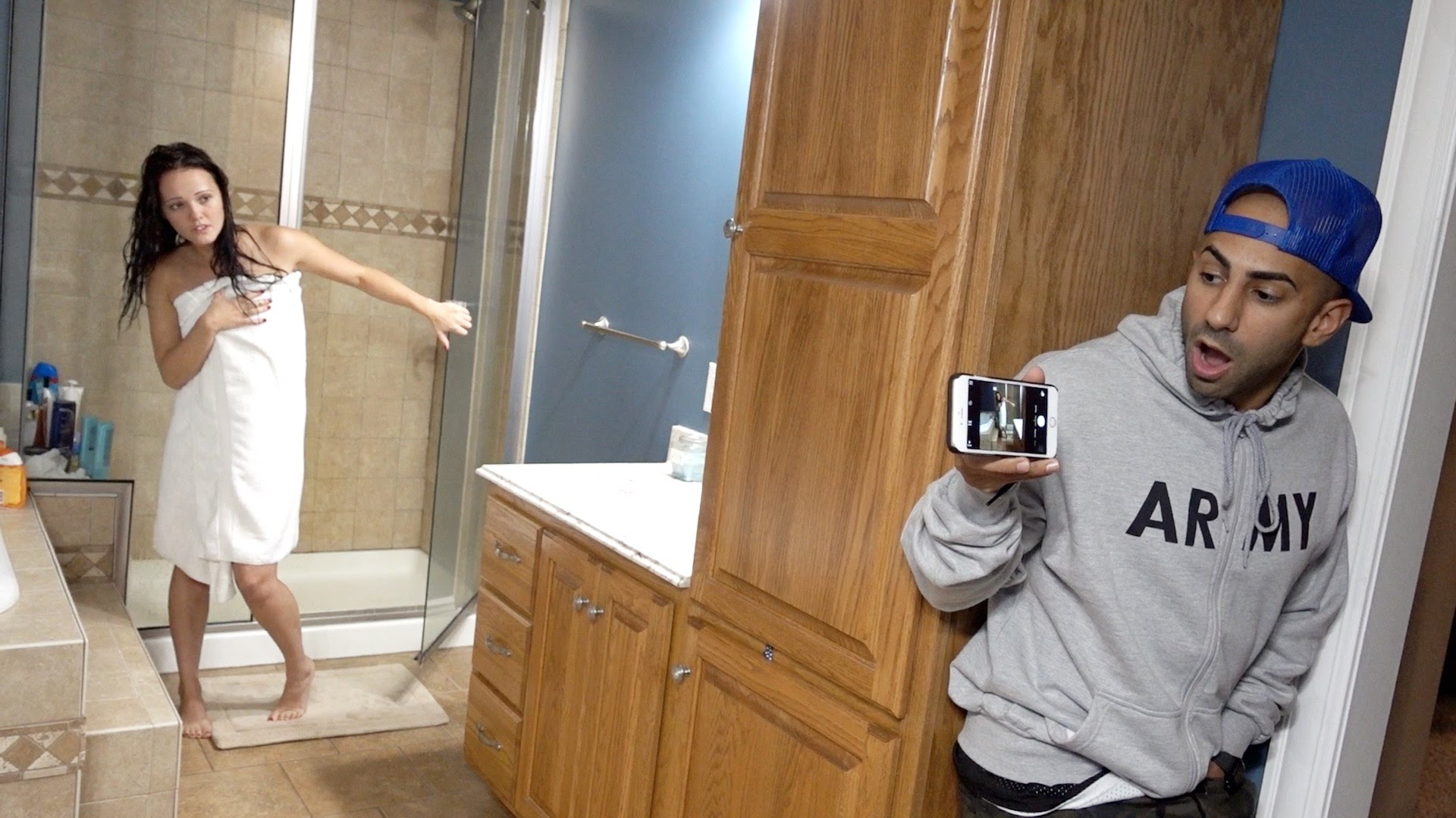 Naked shower prank