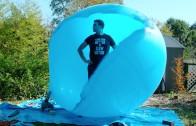 Inside a huge balloon in slow motion