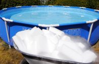 A pool filled with dry ice